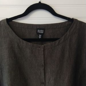 EILEEN FISHER | Brown Italian Linen Blouse Size L